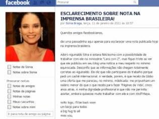Sonia Braga: Direito de resposta via Facebook