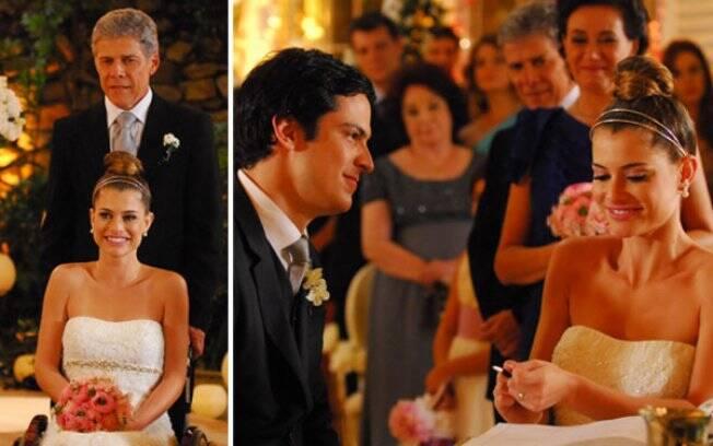 Marcos (José Mayer) leva a filha Luciana (Alinne Moraes) para o altar, ao encontro de Miguel (Mateus Solano) em