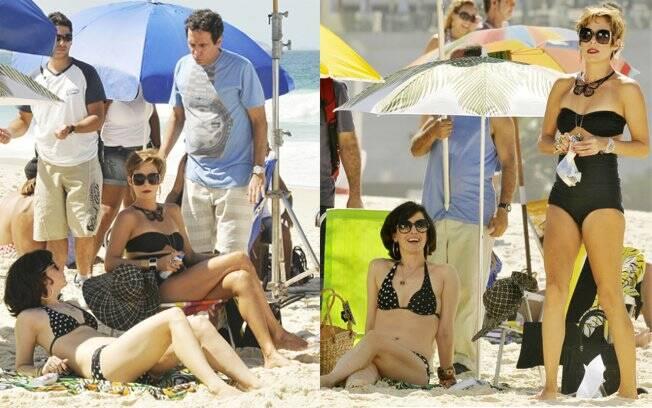 Fernanda Torres interage com o diretor Maurício Farias, marido da colega de elenco Andrea Beltrão; Atrizes notam a presença do paparazzo