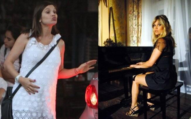 Flávia Alessandra durante a gravidez de Olívia e já de volta ao batente, gravando uma de suas cenas em