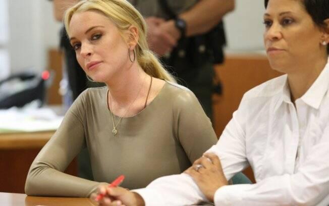 Lindsay Lohan em seu julgamento no final de 2010