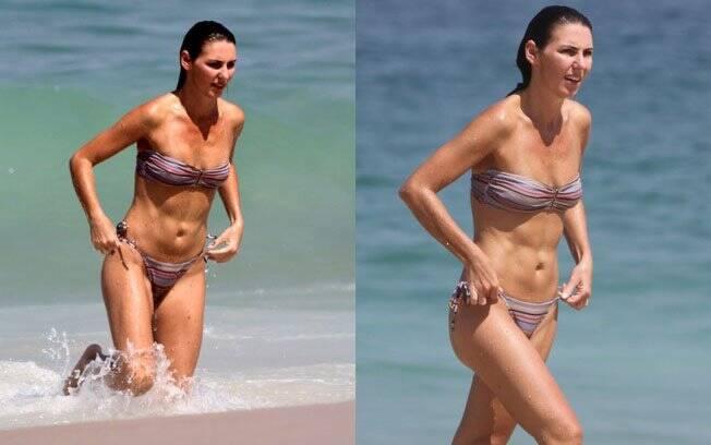 Glenda Kozlowski deu um mergulho no mar para se refrescar do calor do Rio de Janeiro