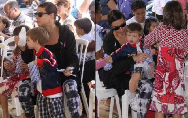 Maria Paula e os filhos participam de evento no Jardim Botânico