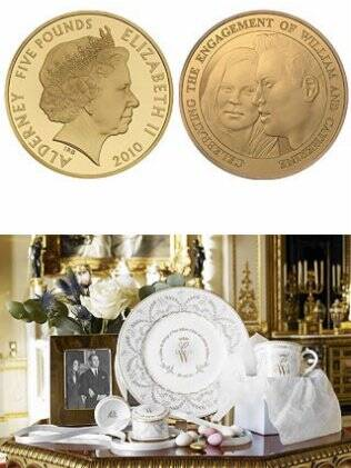 A moeda com o rosto do casal, e o jogo de louça com as inicias dos noivos