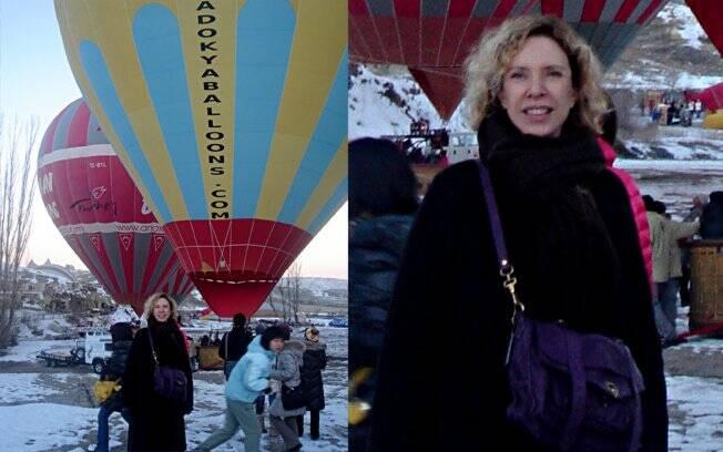 Marília Gabriela minutos antes do balão subir, na Capadócia, Turquia