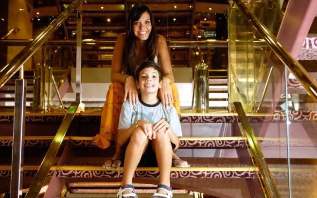 Talula levou o filho, Gabriel, de 8 anos, para curtir o cruzeiro