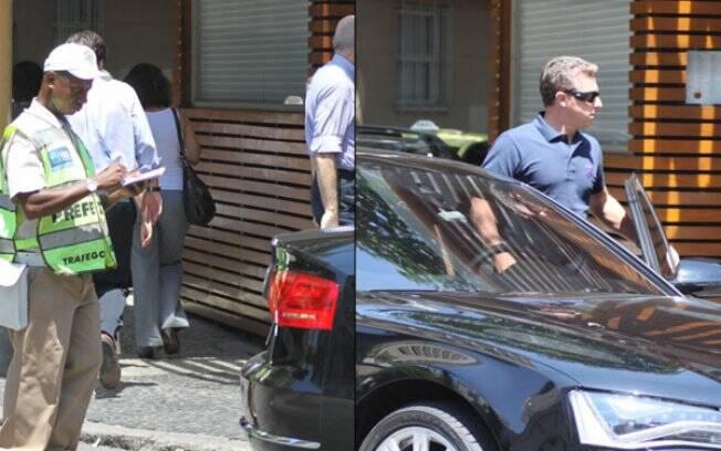 Luciano Huck deixa restaurante após funcionário da CET-Rio aplicar uma multa