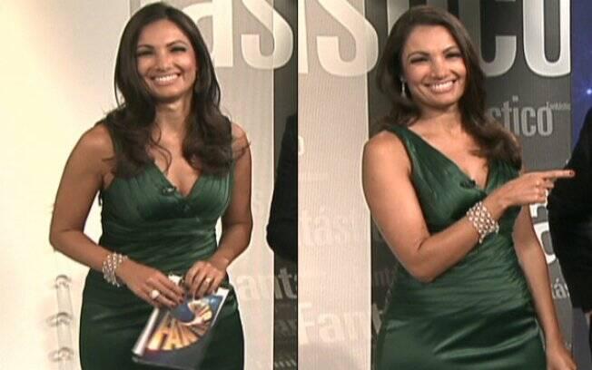 Patrícia aparece com um vestido verde sem mangas