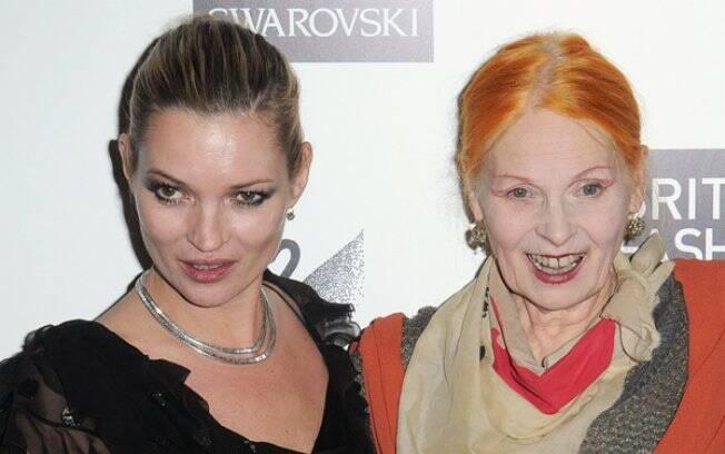 As amigas Kate Moss e Vivienne Westwood: segundo a estilista, a top model pretende criar seu próprio vestido de noiva