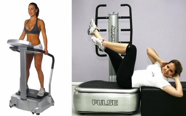 Modelo recebe a vibração em pé na plataforma da Polishop e, ao lado, o abdominal realizado na máquina da Techno Training