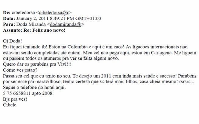 Cibele escreveu para o ex-marido quando estava na Colômbia