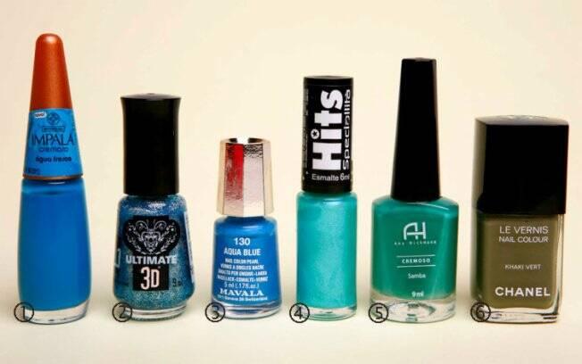 1- Água Fresca, Impala| 2- Aurora Boreau, Top Beauty| 3 - Aqua Blue, Mavala| 4 - Piscina, Hits| 5 - Samba, Ana Hickmann| 6 - Khaki Vert, Chanel