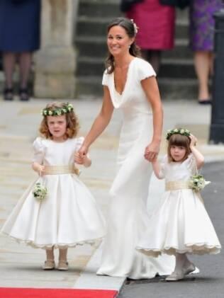Pippa Middleton foi dama de honra da irmã Kate no casamento com o Príncipe William