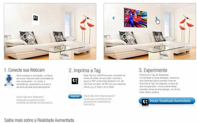 Por meio da realidade aumentada é possível visualizar obras de arte na parede de casa, utilizando apenas a webcam e um código de barras impresso