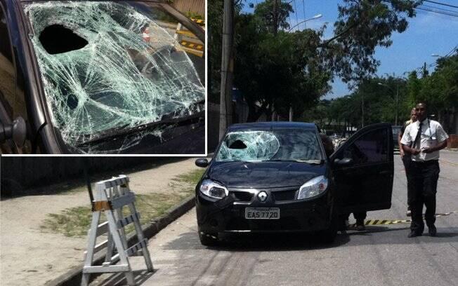 O carro de Milena Toscano após o atropelamento de dois homens