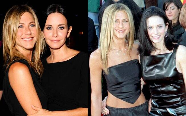Com Courteney Cox em 2010 e 1999, friends forever