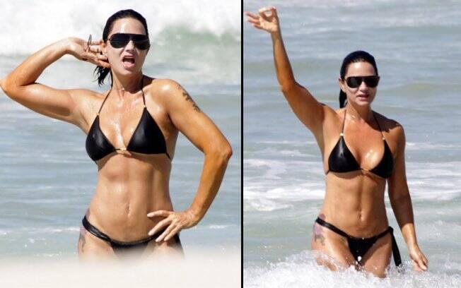 Luiza Brunet se irrita com a presença de paparazzo