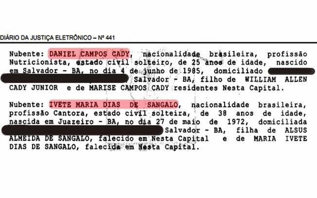 O texto do anúncio do casamento no Diário Oficial de Salvador