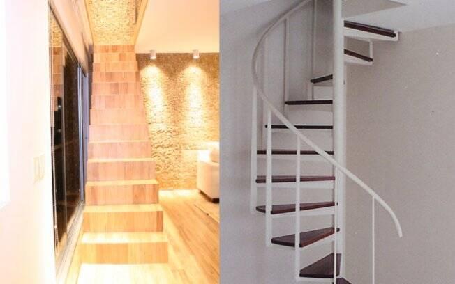 Antes da reforma, a escada caracol. Após, mudança de posição e estilo