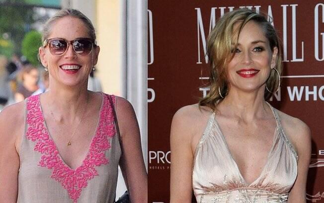 Sharon Stone: sem maquiagem e com óculos escuros na rua e toda produzida numa tapete vermelho em março de 2011