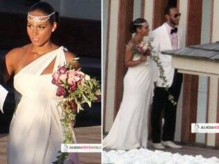 Grávida, Alicia Keys se casa com o rapper Swizz Beatz