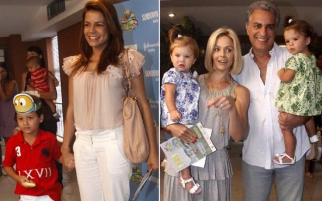 Nívea Stelmann, com Miguel, e Bianca Rinaldi, com o marido e as filhas