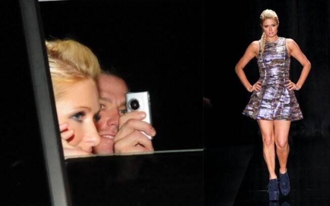 Paris Hilton com o namorado, Cy Waits, e na passarela da Triton