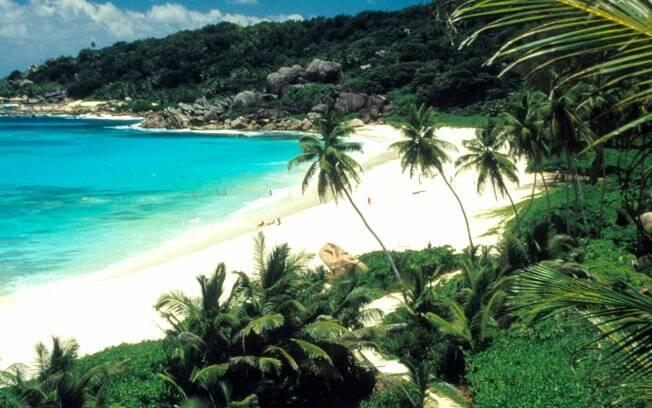 A ilha de Seychelles, no oceano Índico