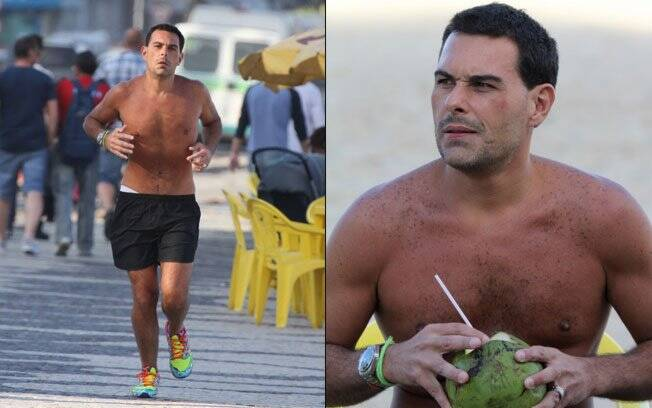 Marcelo Frisoni correndo em Copacabana: aliança no dedo e tatuagem apaixonada