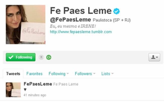 Fernanda Paes Leme posta coração no Twitter. É namoro?