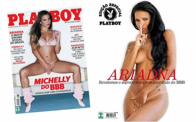 Michelly na Playboy de março e Ariadna na edição especial de abril
