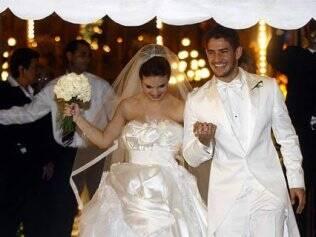 Sthefany Brito em seu casamento com o jogador Alexandre Pato, em julho de 2009