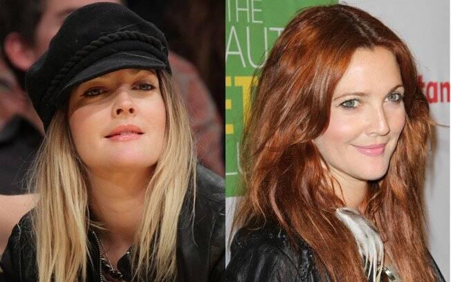 Drew Barrymore, que vive mudando seu visual, também cansou de ser loira. A atriz trocou suas luzes por um cabelo todo ruivo