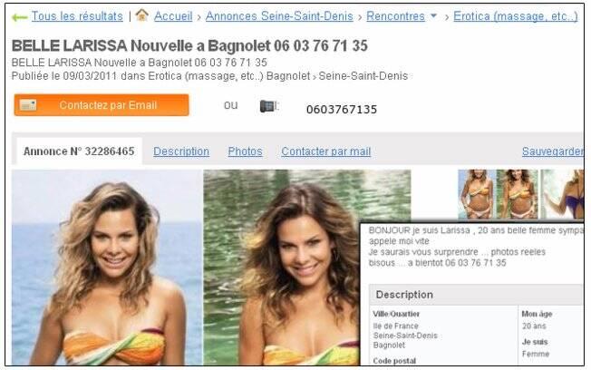 Fotos de Fernanda Souza foram usadas em anúncio de garota de programa