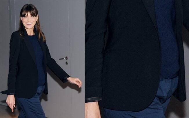 Carla Bruni e a evidente gravidez