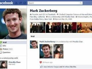 Página de Mark Zuckerberg no Facebook