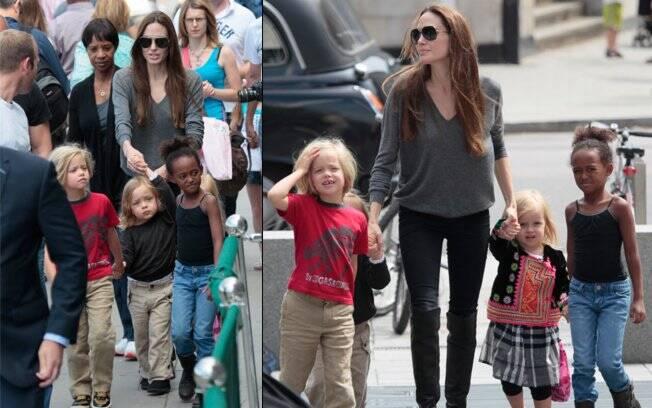 Apesar dos flasehes, Angelina Jolie levou as crianças ao Aquário de Londres
