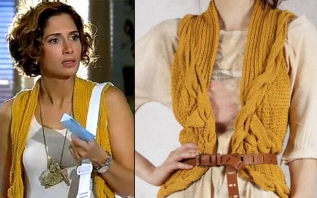 Colete mostarda da Donna Doida usado por Carol Miranda (Camila Pitanga).