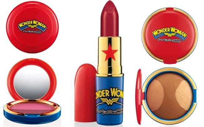 Alguns produtos da linha Wonder Woman: Duo de blush (R$ 101,00), batom  matte vermelho intenso (R$75) e pó mineral (R$157)