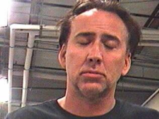 Nicolas Cage em foto tirada durante a prisão em Nova Orleans