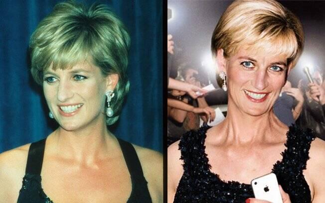 Princesa Diana em 1995 e foto de como a monarca poderia estar hoje
