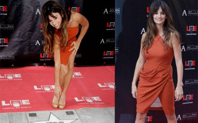Mais magra, Penélope Cruz usa modelito errado em homenagem: atriz tenta alcançar a estrela, mas é impedida pela fenda no vestido