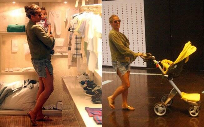 Sem o marido, que estava em São Paulo, Adriane Galisteu passeia com o filho no Rio