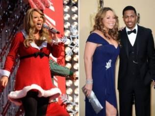 Mariah na apresentação de Natal de Nova York, e ao lado do marido