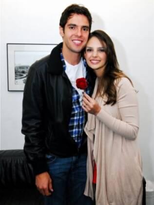 Kaká e Carol Celico no camarim de  Tom