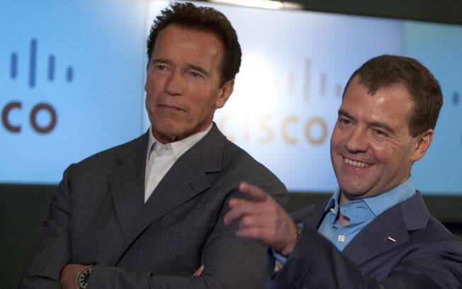 Arnold Schwarzenegger e Dmitry Medvedev: amantes de tecnologia