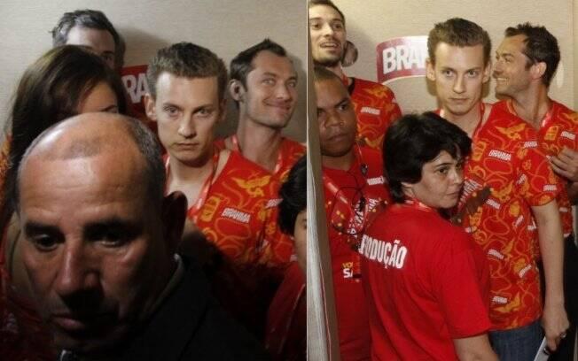 Jude Law na Sapucaí: caras e bocas