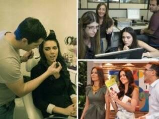 Antes de ir ao ar, Daniela é maquiada por Marcos Diniz e lê as notícias do dia. Depois do programa com Keila Lima e Arthur Veríssimo, bate-papo com a produção