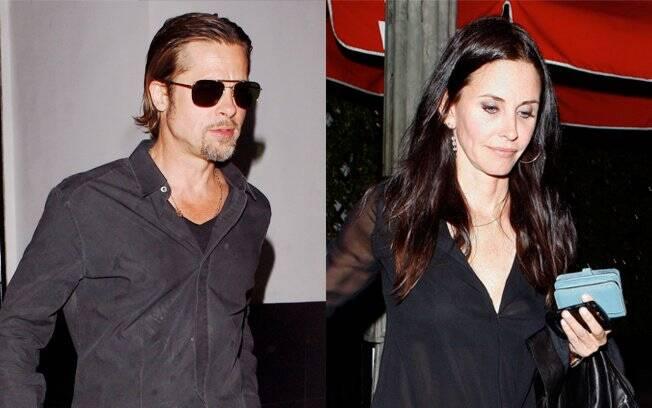 Brad Pitt e Courteney Cox saindo de um jantar em Hollywood