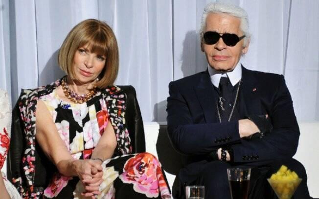Anna Wintour e Karl Lagerfeld na festa de lançamento dos comerciais do sorvete Magnum, em Nova York, na quinta-feira (21/04)